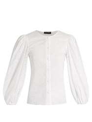 Anna October Broderie Anglaise Cotton Blouse White