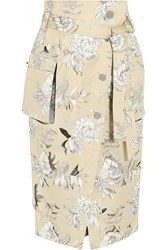 Maison Martin Margiela Maison Margiela Laser Cut Floral Print Silk Blend Lame And Cotton And Linen Blend Midi Skirt Ecru