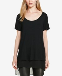 Polo Ralph Lauren Georgette Trim Jersey T Shirt Polo Black