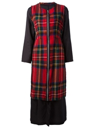 Comme Des Garcons Vintage Double Layer Tartan Dress Red