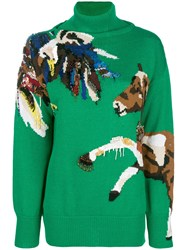 Krizia Horse Embroidered Sweater Green
