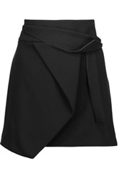 Halston Heritage Wrap Effect Draped Stretch Crepe Mini Skirt Black