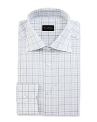 Ermenegildo Zegna Large Check Dress Shirt White Blue Brown