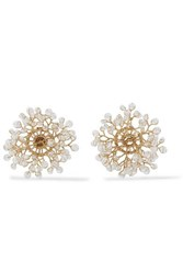 14 Quatorze Dewdrop Gold Plated Crystal Earrings White