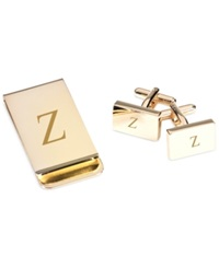 Bey Berk Monogrammed Gold Plated Rectangular Design Cufflinks And Money Clip Gift Set Z