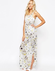 2Nd Day Maxi Dress In Mesh Square Print Multi