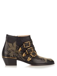 Chloe Susanna Leather Ankle Boots Black Gold