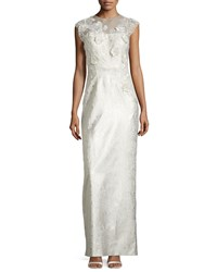 Rickie Freeman For Teri Jon Cap Sleeve Flower Applique Column Gown White