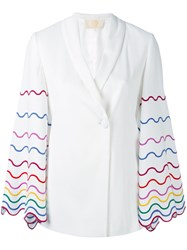 Sara Battaglia Embroidered Sleeve Blazer Women Elastodiene Acetate Cupro Viscose 40 White