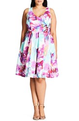 City Chic Plus Size Women's Bright Bouquet Print Fit And Flare Dress