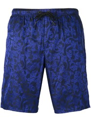 Versace Baroque Embroidered Swimming Shorts Black