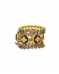 Freida Rothman Medallion Clover Five Stack Rings