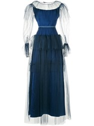 Alexis Mabille Layered Tulle Evening Dress Blue