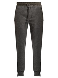 Burberry Leather Trimmed Wool Blend Track Pants Grey
