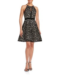 Xscape Evenings Laser Cut Overlay Halter Dress Black Stone