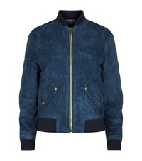 Chloe Quilted Suede Bomber Jacket Female Blue