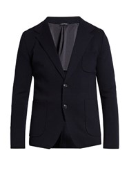 Dolce And Gabbana Notch Lapel Wool Blazer Navy