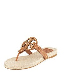 Tory Burch Miller Studded Leather Espadrille Sandals Tan