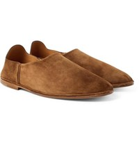 Saint Laurent Fes Collapsible Heel Suede Loafers Brown
