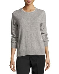 Vince Contrast Tipping Crewneck Sweater Gray White