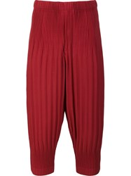 Homme Plisse Issey Miyake Pleated Cropped Trousers Red