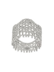 Aurelie Bidermann 18Kt White Gold Vintage Lace Diamond Ring Metallic