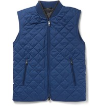 Brioni Leather Trimmed Quilted Silk Gilet Blue
