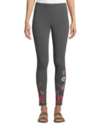 Johnny Was Katina Leggings W Floral Embroidery Plus Size Charcoal Grey