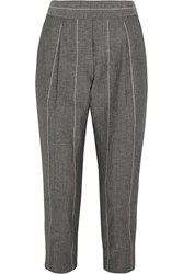 Brunello Cucinelli Cropped Striped Linen And Wool Blend Straight Leg Pants Gray