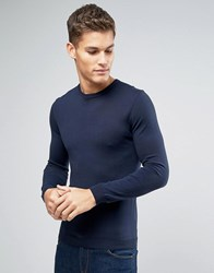 Asos Muscle Fit Cotton Crew Neck Jumper In Navy Navy