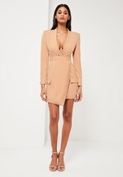 Missguided Nude Tailored Pleat Wrap Dress
