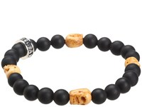 King Baby Studio Onyx Bead Bracelet With 4 Bone Skull Stations Black Bracelet