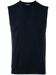Drumohr Sleeveless Sweater Men Merino 54 Blue