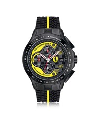 Ferrari Race Day Black And Yellow Stainless Steel Case And Silicone Strap Men's Chrono Watch