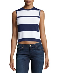 Neiman Marcus Nautical Stripe Sleeveless Sweater Blue White