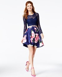 Sequin Hearts Juniors' 2 Pc. Glitter Lace Top And Floral Skirt A Macy's Exclusive Style Navy Multi