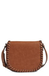 Phase 3 Whipstitch Faux Leather Saddle Bag Brown