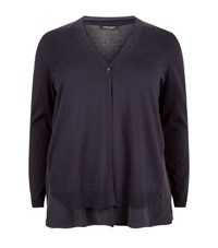 Marina Rinaldi Magda Silk And Cotton Cardigan Female Blue