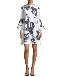 La Petite Robe Di Chiara Boni Bell Sleeve Blossom Shift Dress Black White Oriental Blsm Blk