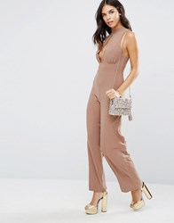 Love High Neck Keyhole Jumpsuit Suede Cream
