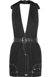 Moschino Belted Denim Mini Dress Black