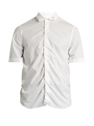 Marni Gathered Short Sleeved Cotton Shirt White