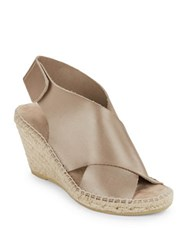 Kenneth Cole Quin Leather Espadrille Wedge Sandals Silver