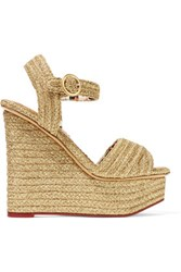Charlotte Olympia Karen Metallic Raffia Wedge Sandals Gold