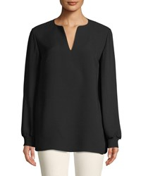 Lafayette 148 New York Roxy Double Georgette Blouse With Knit Cuffs Black