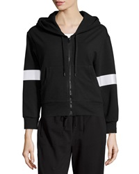 Norma Kamali Cropped Hoodie With Striped Sleeves Black