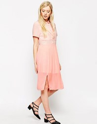 Style London Midi Shirt Dress With Sheer Insert Pastel Pink