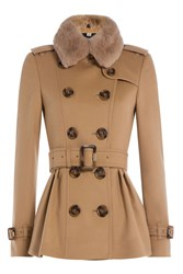 Burberry London Wool And Cashmere Coat With Rabbit Fur Collar