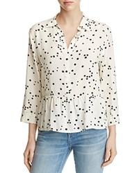 4Our Dreamers Star Print Flounce Blouse Ivory Black