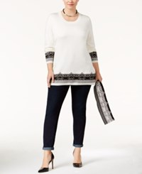 Ny Collection Plus Size Jacquard Scarf Sweater White